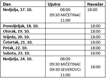 Raspored svetih misa